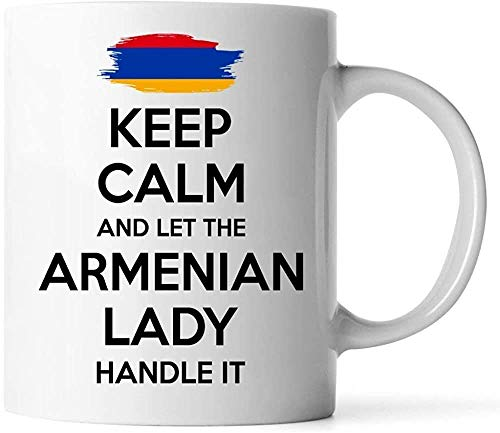 Keyboard cover Mugs - Armenian Gift for Women Grandma Mother Aunt Girlfriend 11 oz White Coffee Mug - Keep Calm and let The Armenian Lady Handle with it.