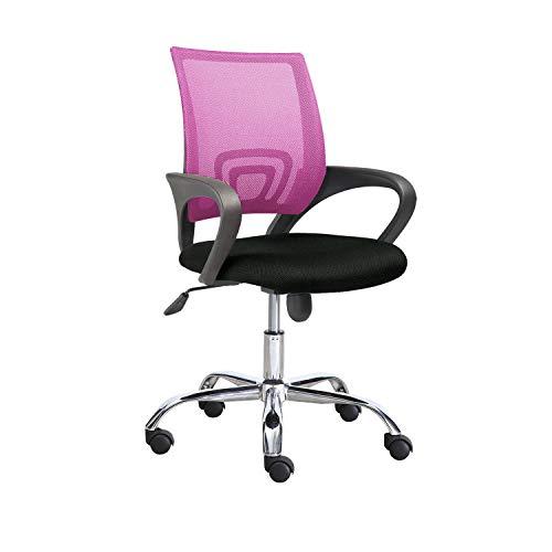 Adec Group Phase, Silla de Oficina, Silla de Escritorio o Despacho, Acabado Rosa y Negro, Medidas: 60 cm (Ancho) x 60 cm (Fondo) x 90-102 cm (Alto)