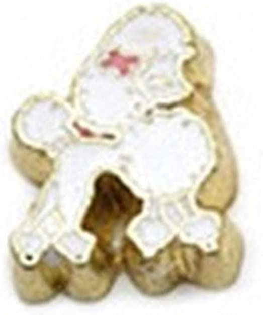 New White In stock Poodle with OFFicial site Pink Bow Charm 8mm Floating Memor for Gold