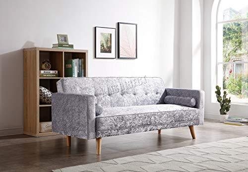 Westwood FSB04 - Sofá cama reclinable de tela de 3 plazas con 2 cojines modernos para el hogar, mecanismo de clic 3 asientos Terciopelo gris.