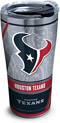 Tervis 1266720 NFL Houston Texans Edge Stainless Steel Tumbler with Clear and Black Hammer Lid 20oz, Silver -