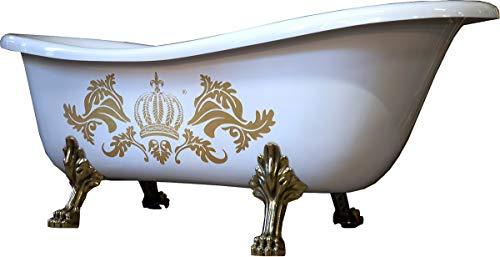 Casa Padrino Pompöös by Luxus Badewanne Deluxe freistehend von Harald Glööckler Weiß/Gold/Weiß 1470mm mit goldfarbenen Löwenfüssen