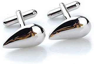 Stainless Steel Silver Water Drop Shape Smooth Men Shirt Cuff Link CUFFLINKS