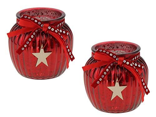 Bada Bing 2er Set Windlicht Rot Aus Glas Holz Stern bauernsilber Bändern Wunderschönes Stimmungslicht 83