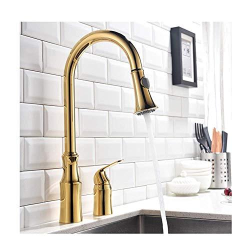 YBQ. s mit ausziehbarem Sprühgerät Modernes Messing High Arc Pull Down 360 Grad Drehen Sie den Küchenmischhahn, gebürstet (Color : Gold)