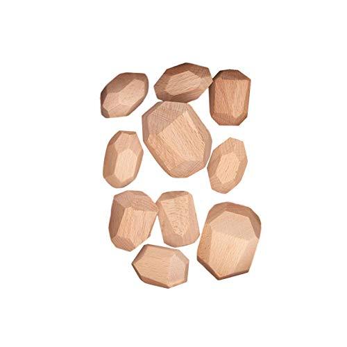 Montessori-Spielzeug Steine aus Holz Balanciersteine Holz Stapeln Spielzeug, Farbiger Meditations Balancier Stein Stapelspiel Baustein Sortieren Und Stapeln Lernspielzeug Für Kinder Heimdekoration