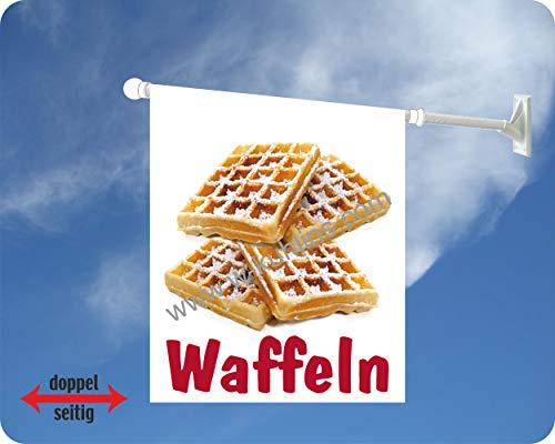 Werbeflagge, Werbefahne, Kaffeeflagge, Kuchenflagge - Kaffee, Kuchen, Torte - Ideal für Café, Bäckerei, Konditorei oder Hofladen, versch. Varianten, weiß (Waffeln)