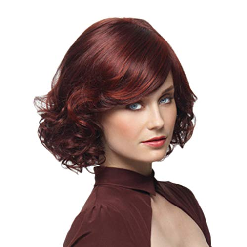 Perruque Femme Cheveux Naturelle Court Curly SynthéTiques Wig Sexy Mode Chic Rouge Vin Wavy Postiches BoucléS (Rouge)