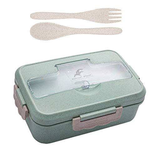 Lunchbox, Bento-Lunchbox für Naturweizen, BPA-frei, Sandwichbox mit 3 Fächern und Besteck, Lunchbox für Weizenstroh, für Kinder, Erwachsene, geeignet für Mikrowelle und Geschirrspüler (Grün)
