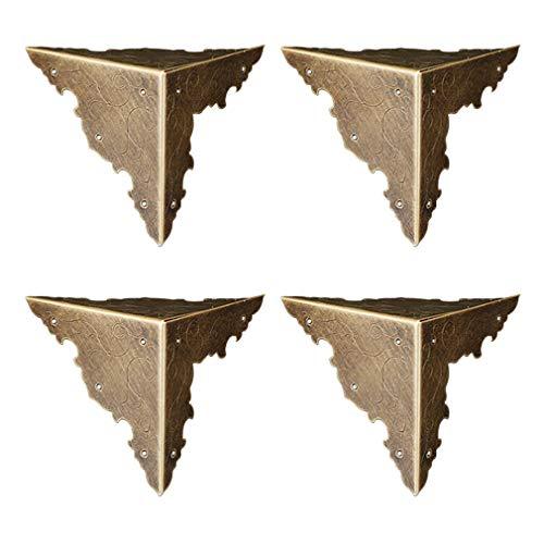 borde de madera 4 unidades gabinete de tres lados para escritorio Tiazza Protectores de esquina de lat/ón puro vintage joyero caja de regalo