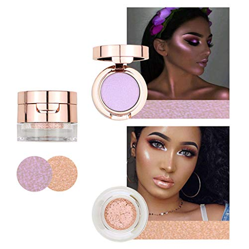 ErYao Two-Tone Highlighter Shimmer Illuminating Powder, Chrome Metallic Highlighter Makeup, Satin Glow Makeup Highlighter, Pearl, Nature Pink, Pink, Champagne (Champagne)