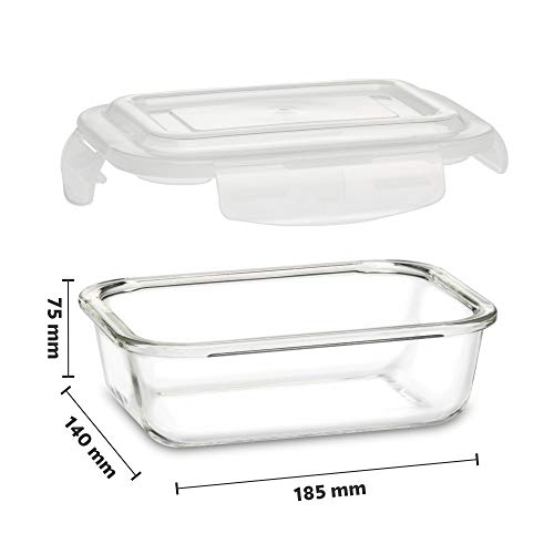 Borosil - Klip N Store Microwave & Oven Safe, Glass Storage Container, 640 ml Rectangle, With Air Tight Lid