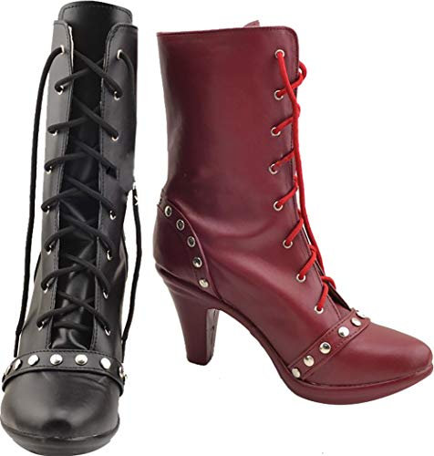 GSFDHDJS Cosplay Stiefel Schuhe for Batman Suicide Squad Harley Quinn Black red