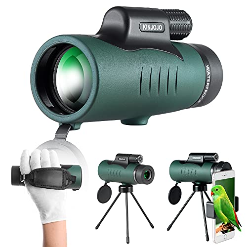 Monocular Telescope 10x42 High Definition Bak4 Prism, with Smartphone Holder Tripod Adult Gift,Suitable for Wildlife Bird Watching Hunting Travel Camping Hiking Scenery