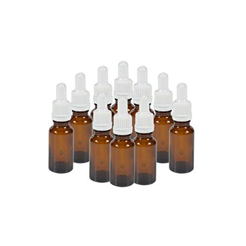 10 x flacons vides en Verre ambré avec Compte-Gouttes - Contenance 20 ML - FL16