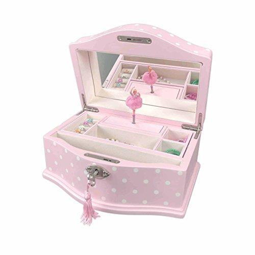 Art Lins Elle Ballerina Musik Schmuck Box mit Schloss, Groß, Holz Fall Pink mit Punkten