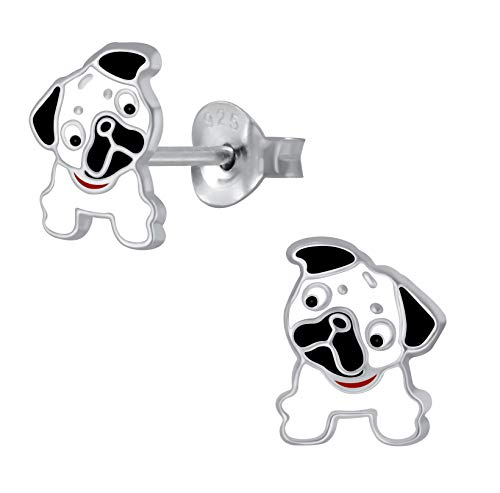 Sterling Silver Pug Dog Earrings - Extra Small