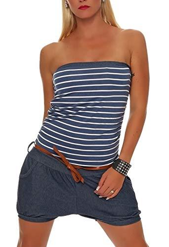 malito more than fashion Malito Damen Einteiler kurz im Marine Design | Overall mit Gürtel | Jumpsuit im Jeans Look | Romper - Playsuit 9646 (Jeansblau)