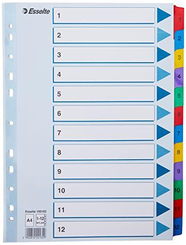 Esselte Índices Numéricos de Cartón Mylar, Tamaño A4, Tipo 1-12, Multicolor, 100162