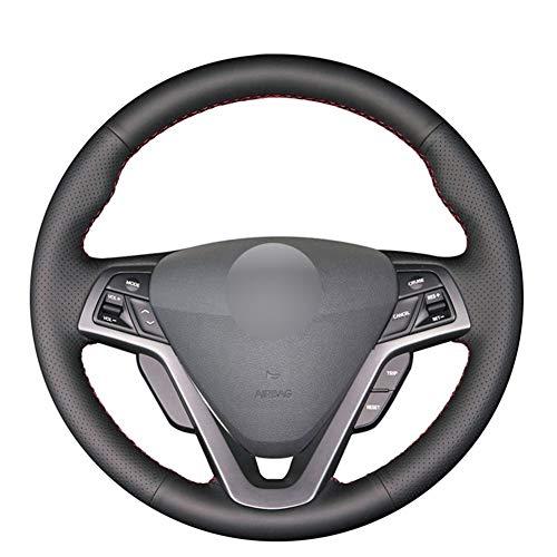 SHENYF Echtes Leder-bequemen Auto-Lenkrad-Abdeckung for Hyundai Veloster 2011 2012 2013 2014 2015 2016 20172018 (Color Name : Gray Thread)