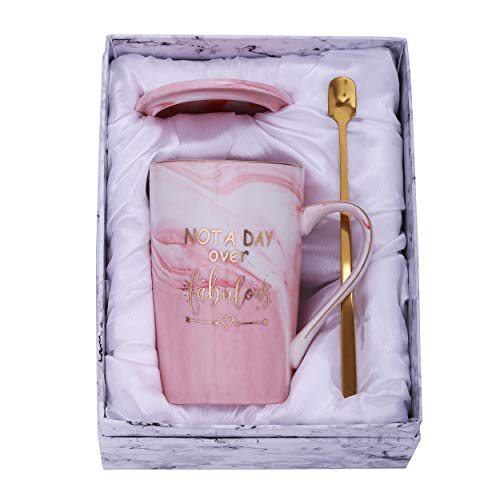 Jumway Not A Day Over Fabulous Mug - Birthday Gifts for Women - Funny Birthday Gift Ideas for Her,Friends, Coworkers, Her, Wife, Mom, Daughter, Sister, Aunt Ceramic Marble Mug 14 Oz Pink