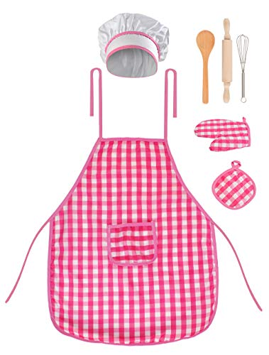 Iso Trade Kochschürzen Set Kinder Rosa 7 Teile Mütze Handschuh Topflappen Rührbesen 6083