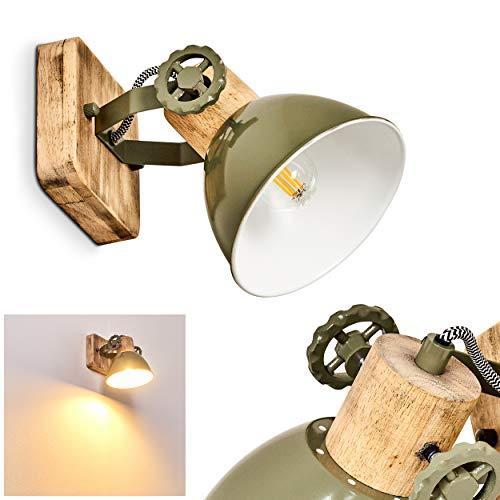 Wandleuchte Orny, verstellbare Wandlampe aus Metall/Holz in Grün/Weiß/Braun, 1-flammig, 1 x E27-Fassung max. 60 Watt, Wandspot im Retro/Vintage Design, für LED Leuchtmittel geeignet