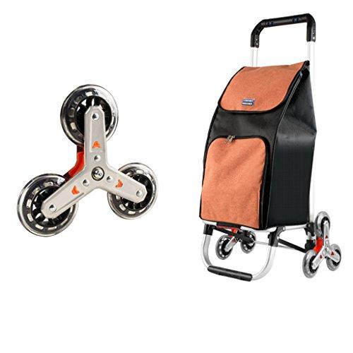 MMWYC Hochleistungstreppen-kletternder Einkaufs-TrolleyFolding Gebrauchslebensmittelgeschäft-Wäscherei-Wagen mit Dreirädern, orange Einkaufstasche