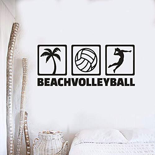 Beach Volleyball Zeichen Wand Poster Volleyball Sport Vinyl Aufkleber Home Interior Dekoration Strand Stil Sumerischen Sport Wandaufkleber-57x24cm