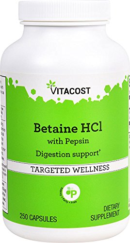 Vitacost Betaine HCl with Pepsin - 650 mg - 250 Capsules