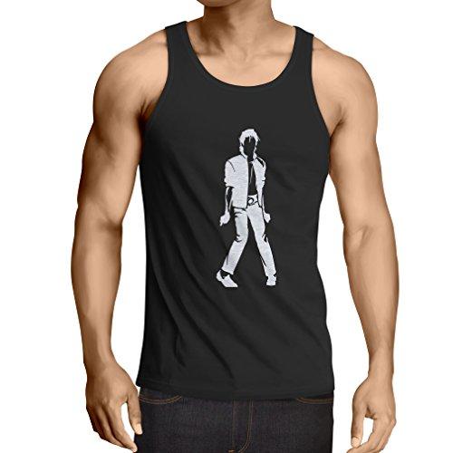 lepni.me Camisetas de Tirantes para Hombre Me Encanta M J - Rey del Pop, 80s, 90s Músicamente Camisa, Ropa de Fiesta (X-Large Negro Blanco)