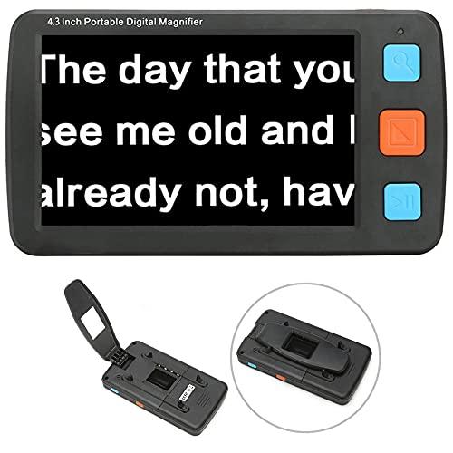 Lupa digital portátil de 4,3 pulgadas, lectura electrónica, pantalla LCD de mano de baja visión,compatible con HDMI AV Salida TV con almacenamiento de fotografías, con varios colores (negro)
