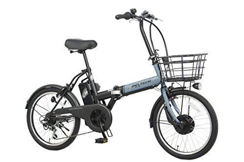 PELTECH(ペルテック) 折り畳み電動アシスト自転車 ブルー×ブラック 20インチ 外装6段変速 TDN-208