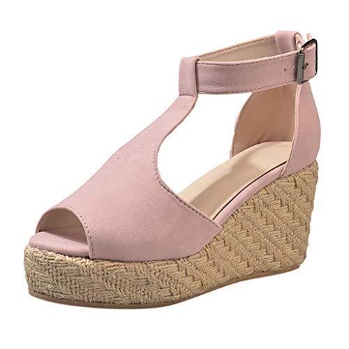 Femme Iconic Sling Back, Sandales Bride ArrièRe Femme Shoes - Sandale CompenséE en LièGe Et Style Cuir (Rose,43 EU)