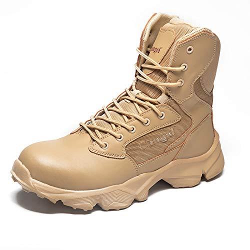 Wygwlg Zapatos de Seguridad con Punta de Acero Botas para Hombres Zapatos Militares de Trabajo Anti-perforación, Sand-44