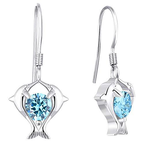 YL Orecchini a cuore Orecchini a delfino doppio Orecchini in argento 925 con zirconi blu cubici per le ragazze delle donne