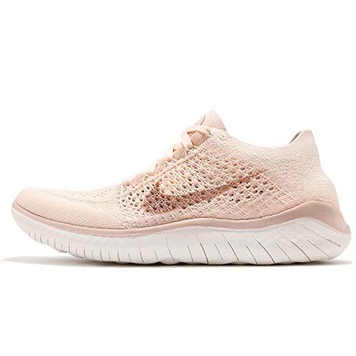 Nike Women's Free Rn Flyknit 2018 Running Shoe (8, Ice/Beige Sail/Pink)