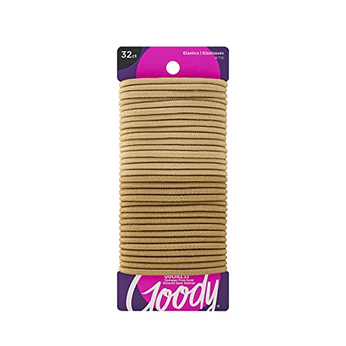 Goody Ouchless Women's Braided Hair Elastics, Blondes, 4MM for Medium Hair, 32 Count