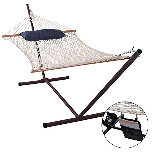 Lazy Daze Hammocks Cotton Rope Hammock with 12 Feet Steel Stand Combo, Include Pillow, Mag Bag and Cup Holder