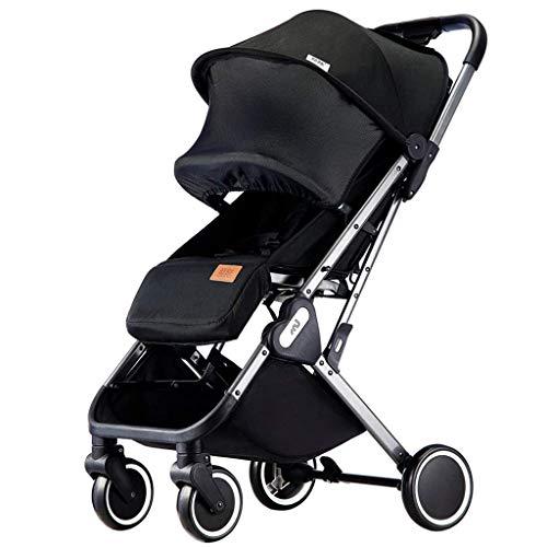 AYDQC Cochecito de Cochecito de cómoda, Carro de bebé Anti-Shock, Cochecito de Aluminio, área de Asiento Grande, Canasta de Almacenamiento Extra Grande (Color: Negro) fengong (Color : Black)