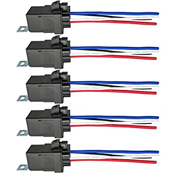 4-PIN 40/30 AMP 12 V DC Waterproof Relay with Harness - Heavy Duty 12 AWG Tinned Copper Wires 5 Pack SPST Bosch Style Automotive Relay