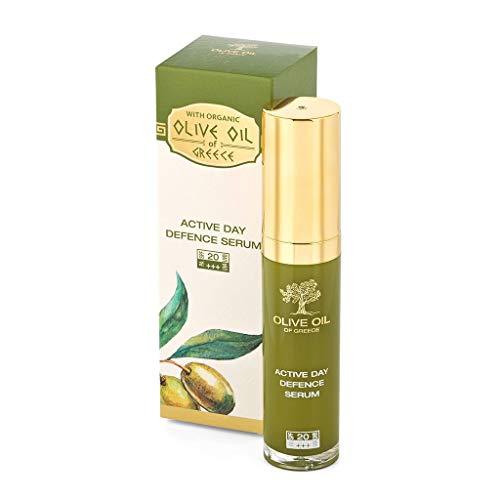 BioFresh Sérum anti-âge intensif à l'huile d'olive biologique, extrait d'edelweiss des Alpes et protection solaire SPF 20 – Sérum actif jour défence S