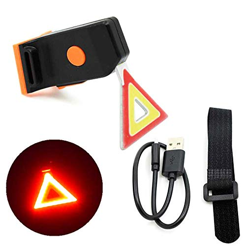 ZXLLAFT Triangle Bike Taillight Red Yellow LED USB Charging Bicycle Rear Light Cycling Tail Lights Night Safety Waring Lamp Mountain Bike Light