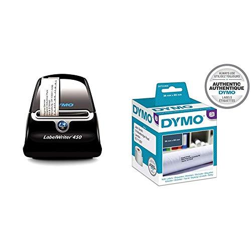Dymo S0838770 LabelWriter 450-Serie + Dymo S0722400 Adressschilder (selbstklebende große, für LabelWriter, 3,5 cm x 8,9 cm, 260er-Rolle) 2er-Packung, schwarz und weiß