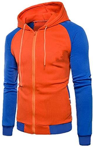 Men's Zipper Long Raglan Sleeve Hoodie Gym Stylish Sweatshirt Jacket,1,Small