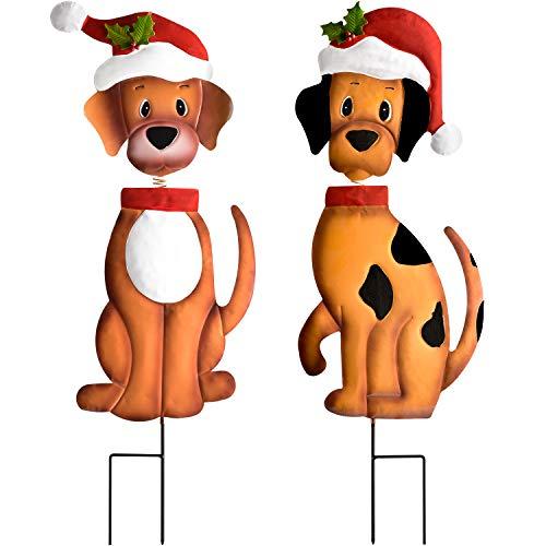YQing 2 Piezas Decoración para Navidad, 26 Pulgadas de Metal Perro Navidad Exterior Decoración para Césped Navideño Signos de Estaca Merry Christmas Yard Sign Poste indicador,Jardín Decoraciones