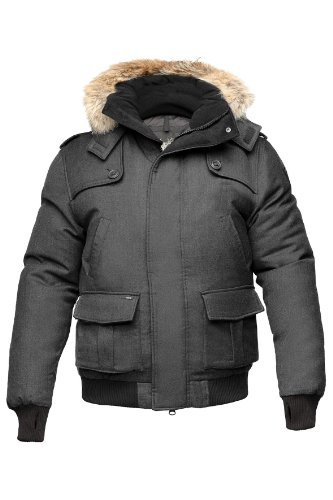 Nobis Cartel Men's Bomber Jacke PolyWool Daunenjacke Winterjacke Herren wasserdicht & warm (Heathered Charcoal/grau meliert, XL)