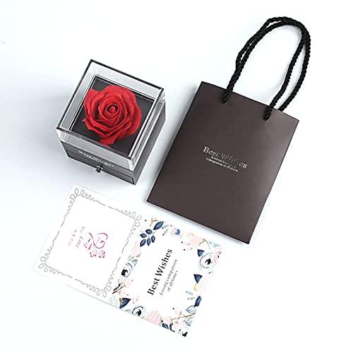Natural Rosa Eterna Roja con Caja de Regal Flor Verdadera para Siempre Rosa Flor Fresca Hecha a Mano Rosa Eterna para el día de San Valentín,para San Valentín Día de la Madre Aniversario Cumpleaños