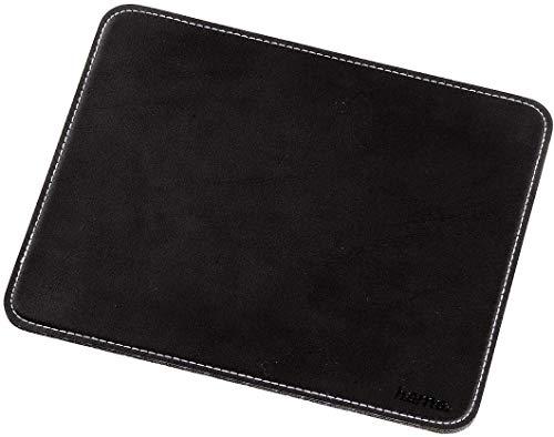 Hama Mauspad (22 x 18 cm, Office Mousepad in Leder Optik, Optimale Gleitfähigkeit, Rutschfeste Unterseite) schwarz