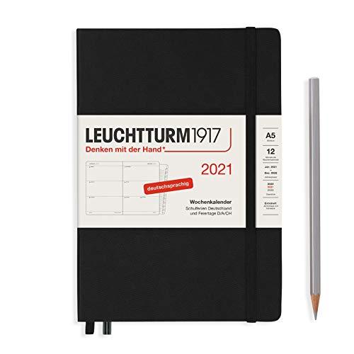 LEUCHTTURM1917 Wochenkalender 2021 Hardcover Medium (A5), 12 Monate, Schwarz, Deutsch